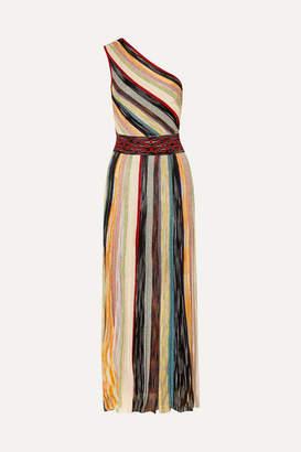 Missoni One-shoulder Striped Metallic Crochet-knit Maxi Dress - Burgundy