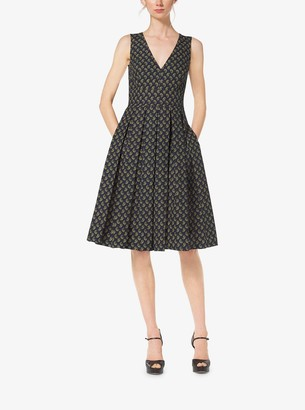 Michael Kors Paisley Cotton-Poplin Pleat Dress