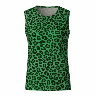 iHENGH Women Leopard Print Vest Sexy Slim Sleeveless Cotton T-Shirts Ladies Tops(Green X-Large)