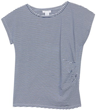 Joan Vass Striped Ruched Tee
