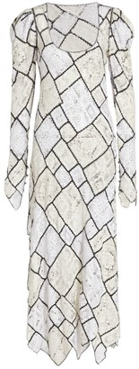 Prabal Gurung Flutter Patchwork Lace Midi Dress
