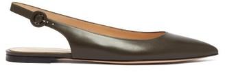 Gianvito Rossi Anna Point-toe Leather Slingback Flats - Womens - Khaki