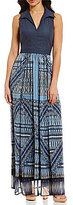 London Times Point Collar Sleeveless Denim Chiffon Maxi Dress