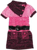 Dollhouse Little Girls Short Sleeve Cardigan Sweater with Elastic Belt