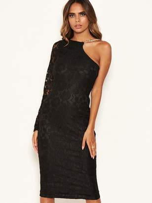 AX Paris Lace One Shoulder Dress with Chain Detail - Black