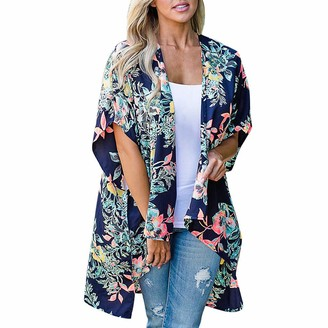 Lazzboy Women Cover-up Smock Plus Size Chiffon Floral Flower Print Beach Flowy Open Front Half Sleeve Ladies Swimwear Shrug Kimono(M(12)