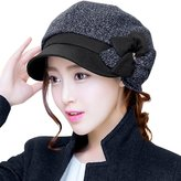 Siggi Winter Black Newsboy Cap for Women Rhinestone Cabbie Hat 8 Panel DarkNavy