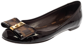 Louis Vuitton Brown Patent Leather And Damier Ebene Canvas Bow Ballet Flats Size 36