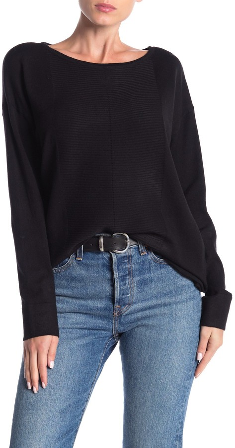 Cyrus Rib Knit Pullover High/Low Sweater