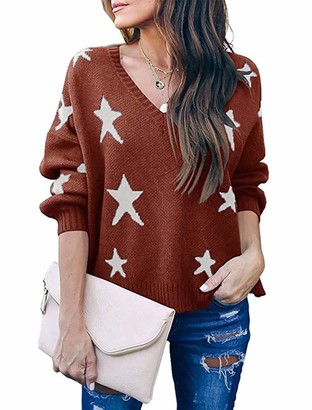 Yidarton Womens Casual Loose V Neck Long Sleeve Jumpers Star Print Knitted Pullover Sweater Tops (Green Medium)