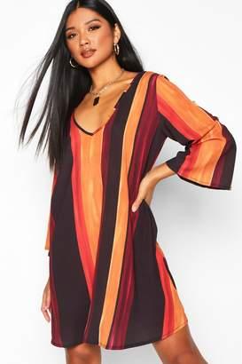 boohoo Stripe Tie Back Flute Sleeve Swing Dress