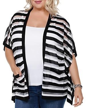 Belldini Striped Short-Sleeve Cardigan