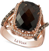 LeVian Le Vian Chocolatier® Smoky Quartz (5-1/10 ct. t.w.) and Diamond (3/8 ct. t.w.) Statement Ring in 14k Rose Gold