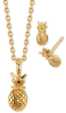 Unwritten 2-Pc. Set Mini Pineapple Pendant Necklace & Stud Earrings in Gold-Tone Fine Plated Silver, Created for Macy's