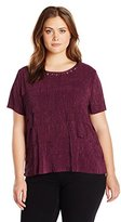 Alfred Dunner Women's Plus Size Accordion Ruffle Tiered Knit Top with Embellishment