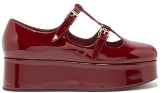 Miu Miu Patent-leather Mary-jane Flatforms - Womens - Burgundy