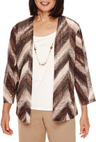 Alfred Dunner 3/4-Sleeve Print Layered Top