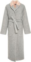 Alena Akhmadullina Mink Fur Trimmed Wool Coat