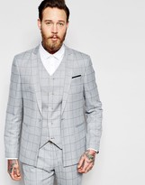 Asos Skinny Suit Jacket In Light Blue Check