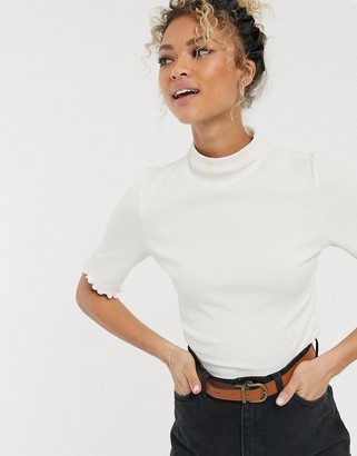 Pieces high neck ribbed jersey top in white