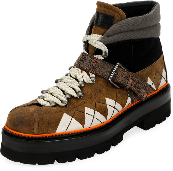 891221fde6d Men's Manilo Graphic-Trim Leather Hiking Boots