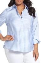 Foxcroft Plus Size Women's Non-Iron Stripe Cotton Sateen Shirt