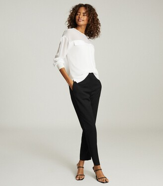 Reiss Camille - Semi Sheer Twin Pocket Top in White
