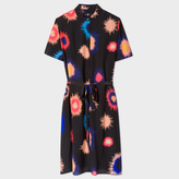 Paul Smith Women's Black Silk 'Supanova' Print Shirt-Dress