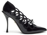 Dolce & Gabbana Lori Bow-appliqued Cut-out Leather Pumps - Womens - Black