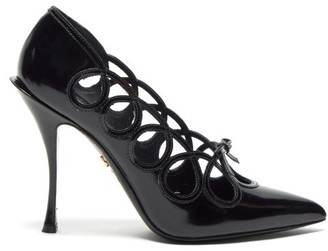 Dolce & Gabbana Lori Bow-appliqued Cut-out Leather Pumps - Black