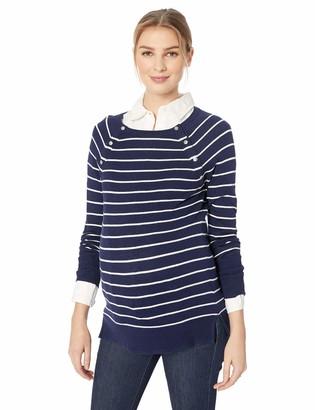 Motherhood Maternity Women's Maternity Nursing Snap Down Wide Scoop Neck Raglan Sweater