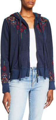 Johnny Was Shanelle Embroidered Zip-Front French Terry Hoodie