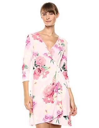 Calvin Klein Women's 3/4 Sleeve Faux Wrap Dress