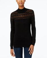 August Silk Mock-Neck Illusion-Chevron Sweater