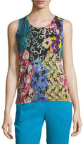 Etro Patchwork Printed Silk/Cashmere Shell, Blue/Purple