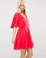 Asos Wrap Front Mini Dress with Angel Sleeve