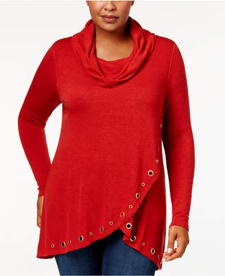 Belldini Plus Size Cowl-Neck Grommet-Trim Top