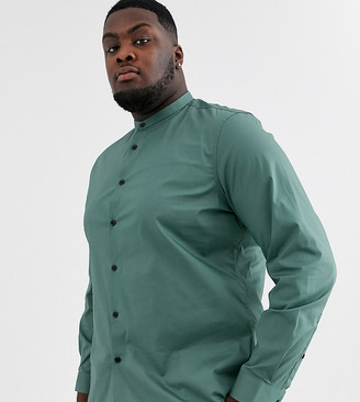 Asos Design DESIGN Plus stretch slim fit shirt in dark green with grandad collar
