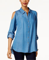 Style&Co. Style & Co Denim Cold-Shoulder Shirt, Only at Macy's