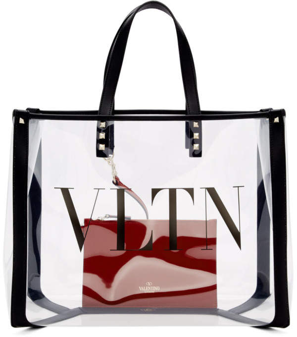 Valentino Transparent Garavani Small VLTN Shopping Tote
