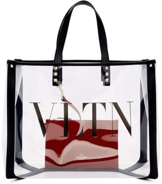 Valentino Transparent Garavani Small VLTN Shopping Tote