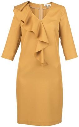 Muza V-Neck Front Ruffled Midi Dress In Golden Yellow