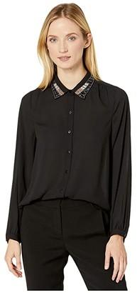 NYDJ Embellished Modern Blouse (Black) Women's Clothing