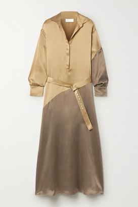 Santana Asceno ASCENO - + Net Sustain Oversized Two-tone Silk-satin Maxi Dress - Gold
