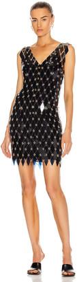 Paco Rabanne Sleeveless Embellished Mini Dress in Navy & Dark Grey | FWRD