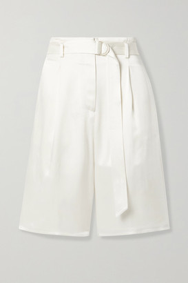LAPOINTE - Belted Satin Shorts - Cream