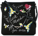 Love Moschino bird embroidered crossbody bag - women - Cotton/Linen/Flax/polyurethane - One Size