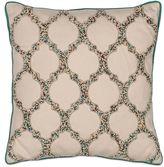 Kas Trefoil Square Throw Pillow in Beige
