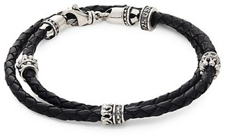 King Baby Studio Sterling Silver Braided Leather Double-Wrap Bracelet