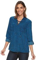 Apt. 9 Women's Croft & Barrow® Lace-Up Blouse
